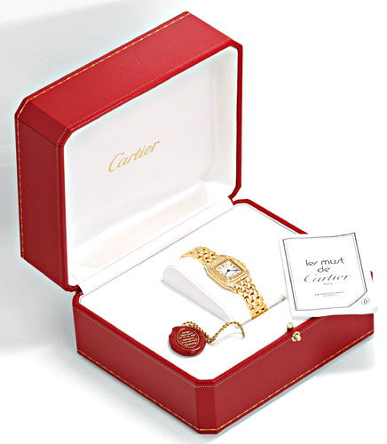 Foto 6, Cartier Panthere Damen Gold Org.Diamant Gehäuse Geprüft, U1349