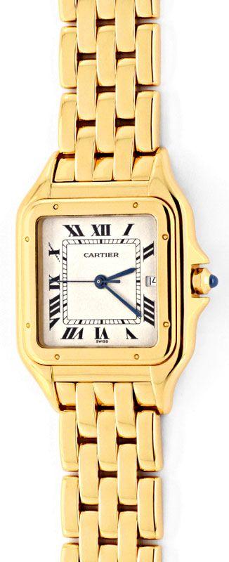 Foto 2, Cartier Panthere Gelb Gold Herrenuhr Neuzustand Geprüft, U1358