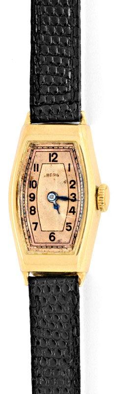 Foto 2, Original antike Damen Armbanduhr Berg 14K Gelbgold Shop, U1361