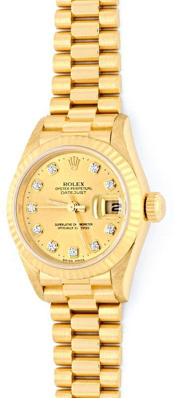 Foto 2, Rolex Lady Datejust Gold, Diamanten, Neuzustand Geprüft, U1363