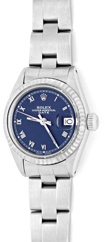 Foto 2, Rolex Date Damen Uhr Edelstahl Weiss Gold Oyster Topuhr, U1364