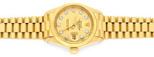 Foto 1, Damen Diamant Gold Rolex Oyster Perpetual Date, Geprüft, U1366