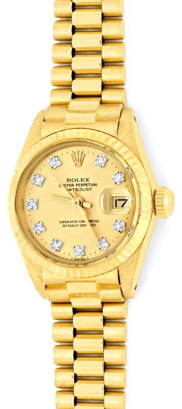 Foto 2, Damen Diamant Gold Rolex Oyster Perpetual Date, Geprüft, U1366