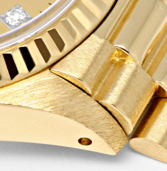 Foto 4, Damen Diamant Gold Rolex Oyster Perpetual Date, Geprüft, U1366