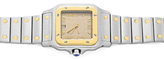 Foto 1, Cartier Santos Galbee Uhr Herren Armband Uhr Stahl Gold, U1384