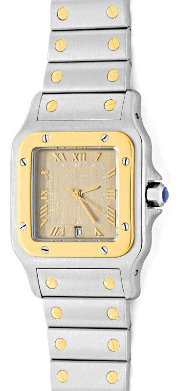 Foto 2, Cartier Santos Galbee Uhr Herren Armband Uhr Stahl Gold, U1384