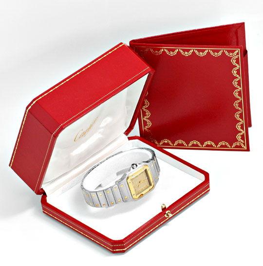 Foto 6, Cartier Santos Galbee Uhr Herren Armband Uhr Stahl Gold, U1384