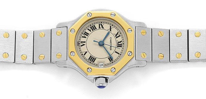 Foto 1, Cartier Santos Ronde Stahl Gold Quarz, Damen Armbanduhr, U1391