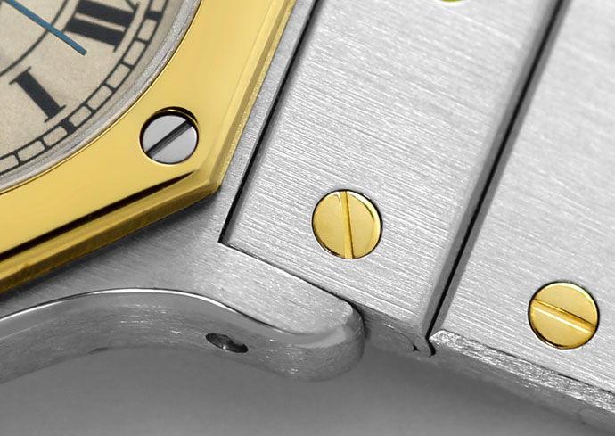 Foto 3, Cartier Santos Ronde Stahl Gold Quarz, Damen Armbanduhr, U1391