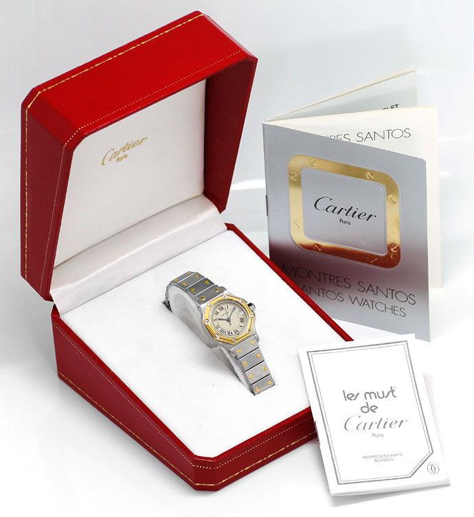 Foto 5, Cartier Santos Ronde Stahl Gold Quarz, Damen Armbanduhr, U1391