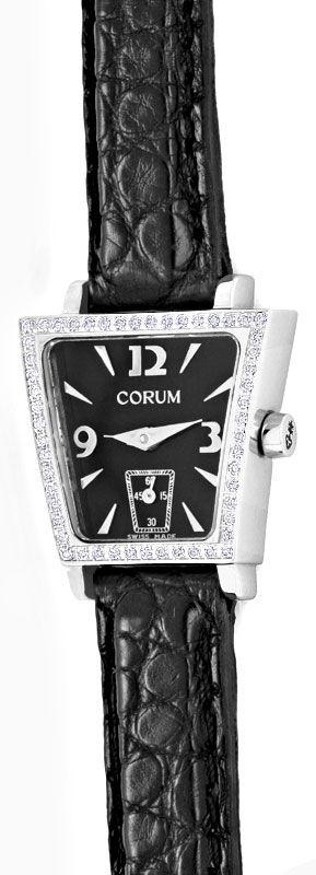 Foto 2, Corum Trapez Damenuhr in Edelstahl Diamanten ungetragen, U1402