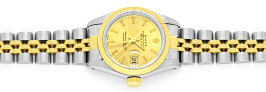 Foto 1, Rolex Lady Datejust, Rolex Damen Armband Uhr Stahl Gold, U1406
