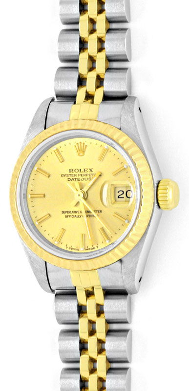Foto 2, Rolex Lady Datejust, Rolex Damen Armband Uhr Stahl Gold, U1406