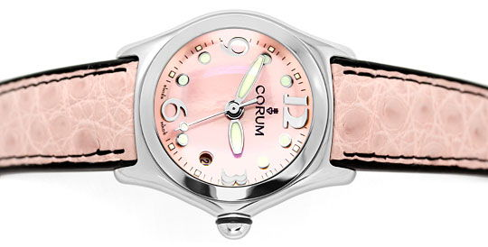 Foto 1 - Corum Bubble Rosa Perlmutt Stahl Medium Uhr, Ungetragen, U1426