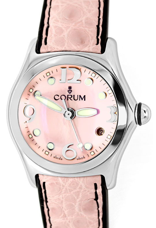 Foto 2, Corum Bubble Rosa Perlmutt Stahl Medium Uhr, Ungetragen, U1426