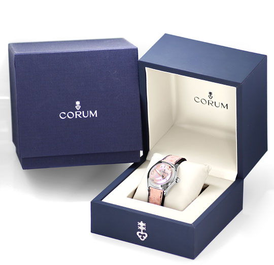 Foto 6, Corum Bubble Rosa Perlmutt Stahl Medium Uhr, Ungetragen, U1426