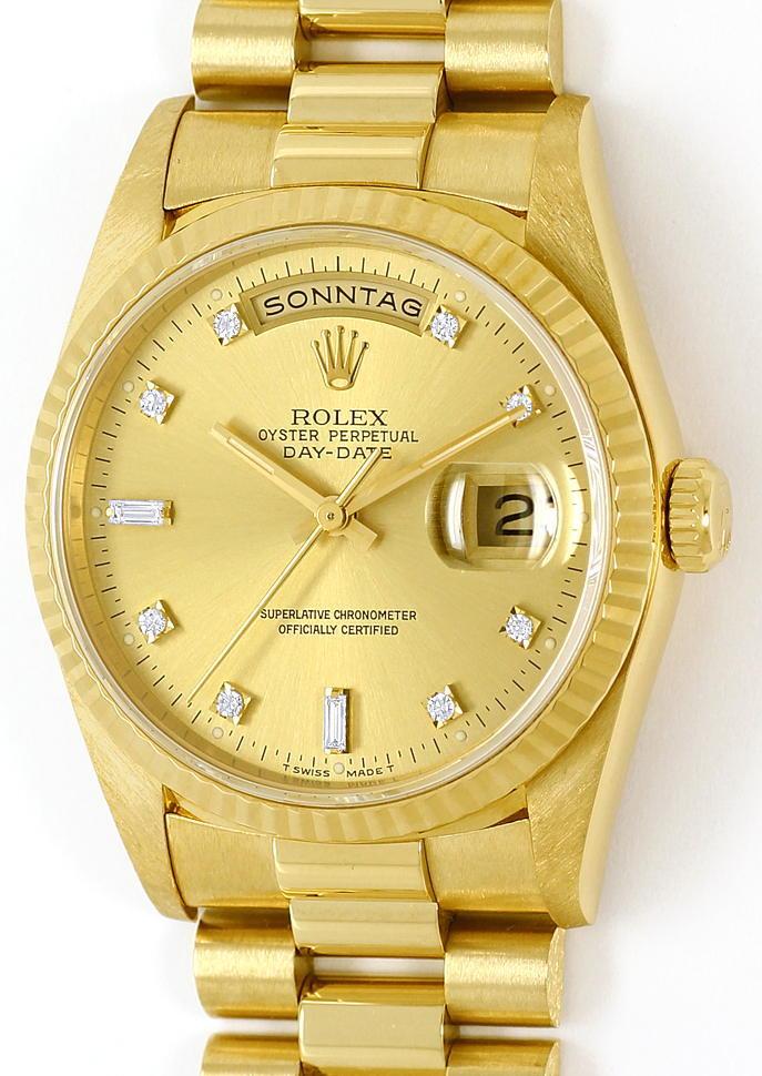 Foto 2, Rolex Daydate Gelbgold Diamantzifferblatt im Neuzustand, U1437