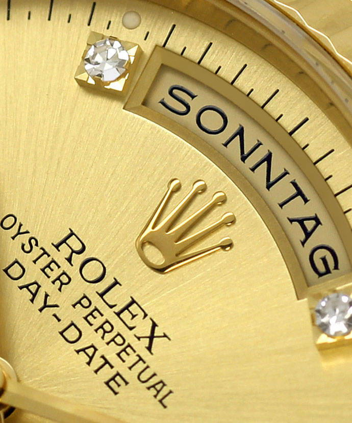 Foto 3, Rolex Daydate Gelbgold Diamantzifferblatt im Neuzustand, U1437