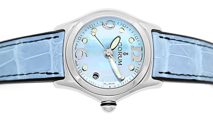 Foto 1, Corum Bubble Medium Uhr mit Perlmutt ungetragen mit Box, U1441