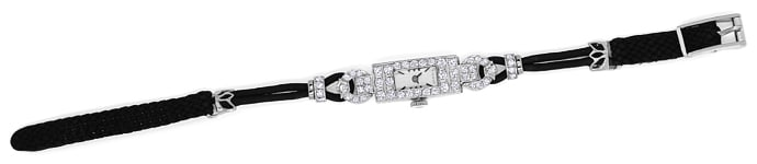 Foto 1 - Art Deco Diamant Damenarmbanduhr in Platin, U1447