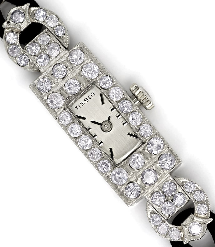 Foto 2 - Art Deco Diamant Damenarmbanduhr in Platin, U1447