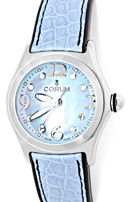 Foto 2, Corum Bubble Damen Medium Perlmutt ST Ungetragen Topuhr, U1455