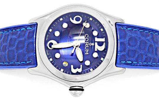 Foto 1, Corum Bubble Damen Medium Königsblau, Ungetragen Topuhr, U1456
