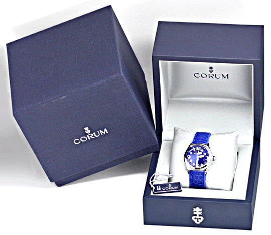 Foto 8, Corum Bubble Damen Medium Königsblau, Ungetragen Topuhr, U1456