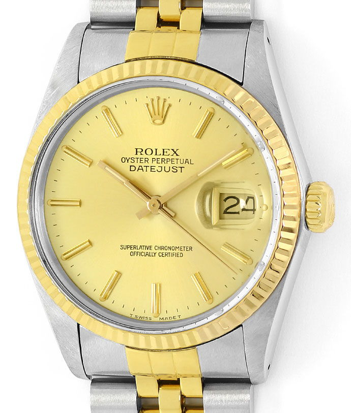rolex datejust herren uhr in stahl gold spitzenzustand u1460. Black Bedroom Furniture Sets. Home Design Ideas