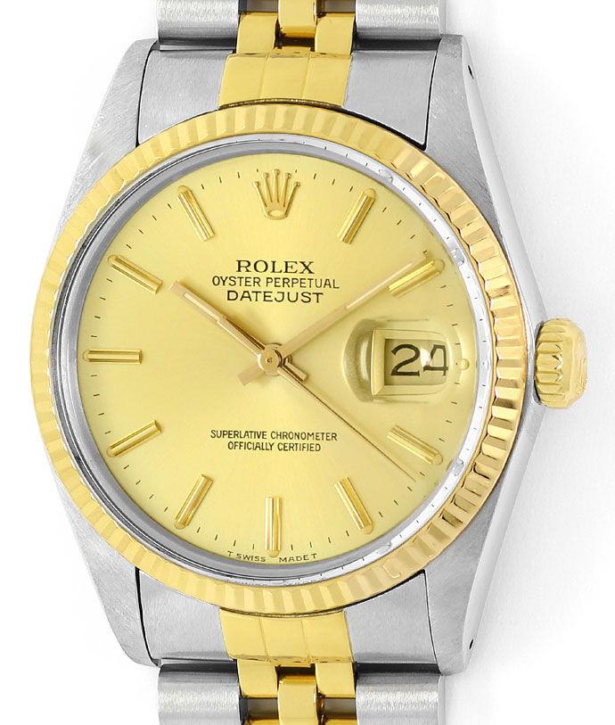 Foto 2, Rolex Datejust Herren Uhr in Stahl Gold, Spitzenzustand, U1460