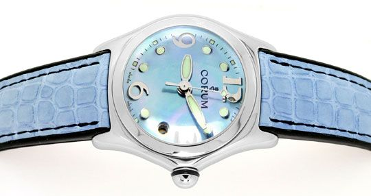 Foto 1, Corum Bubble Medium-Damenarmbanduhr Hellblau Ungetragen, U1465