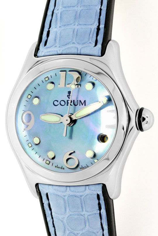 Foto 2, Corum Bubble Medium-Damenarmbanduhr Hellblau Ungetragen, U1465