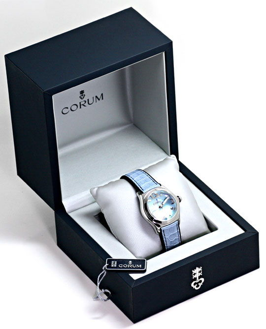 Foto 6, Corum Bubble Medium-Damenarmbanduhr Hellblau Ungetragen, U1465