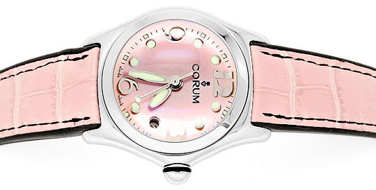 Foto 1, Corum Bubble Medium Perlmutt Rosa, Stahluhr, Ungetragen, U1466