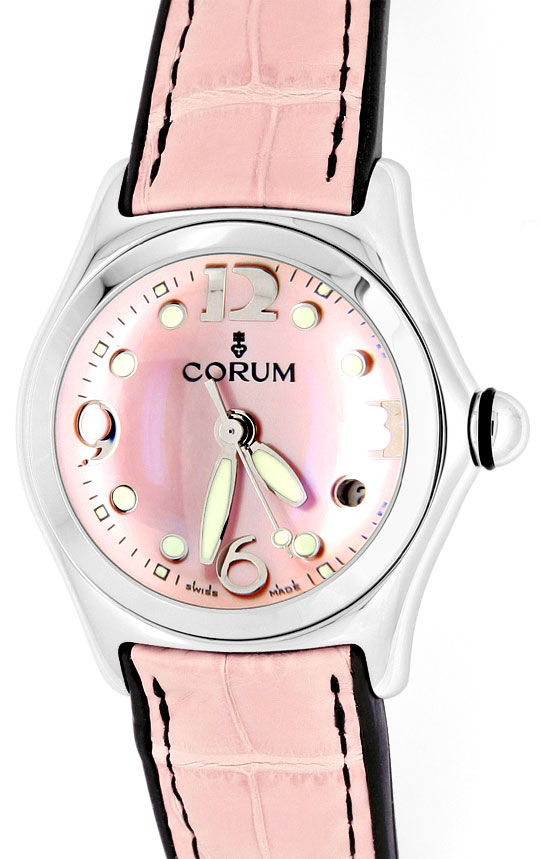 Foto 2, Corum Bubble Medium Perlmutt Rosa, Stahluhr, Ungetragen, U1466