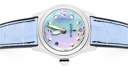 Foto 1 - Corum Bubble Medium Hellblau Perlmutt, Stahl Ungetragen, U1482