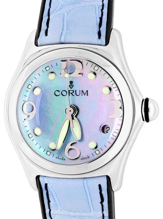 Foto 2, Corum Bubble Medium Hellblau Perlmutt, Stahl Ungetragen, U1482