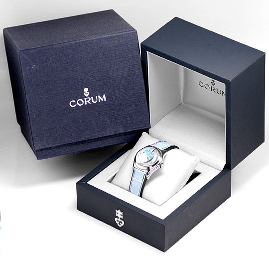 Foto 6, Corum Bubble Medium Hellblau Perlmutt, Stahl Ungetragen, U1482