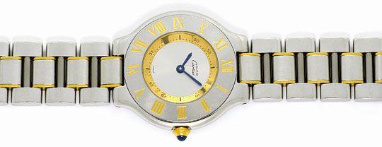 Foto 1, Montre 21 Must de Cartier, Damen Armbanduhr, Stahl Gold, U1488