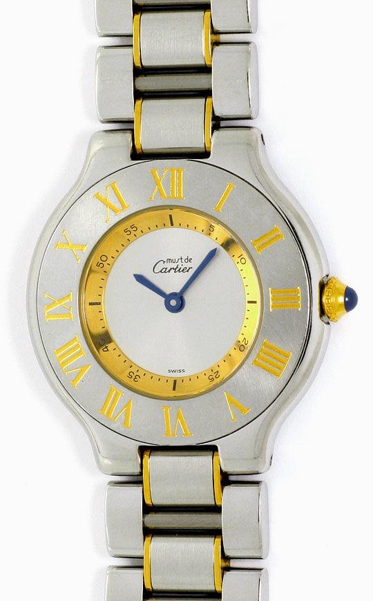 Foto 2, Montre 21 Must de Cartier, Damen Armbanduhr, Stahl Gold, U1488