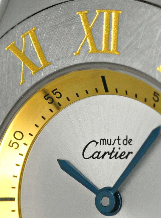 Foto 4, Montre 21 Must de Cartier, Damen Armbanduhr, Stahl Gold, U1488