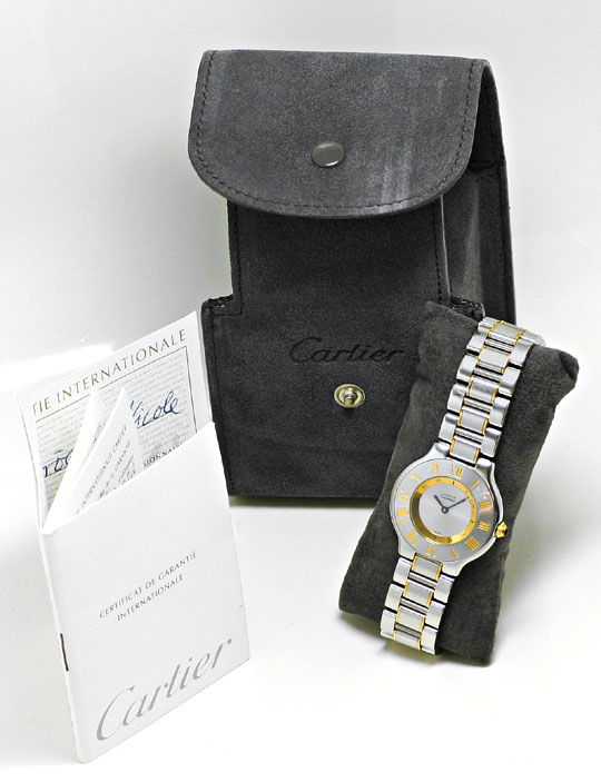 Foto 6, Montre 21 Must de Cartier, Damen Armbanduhr, Stahl Gold, U1488