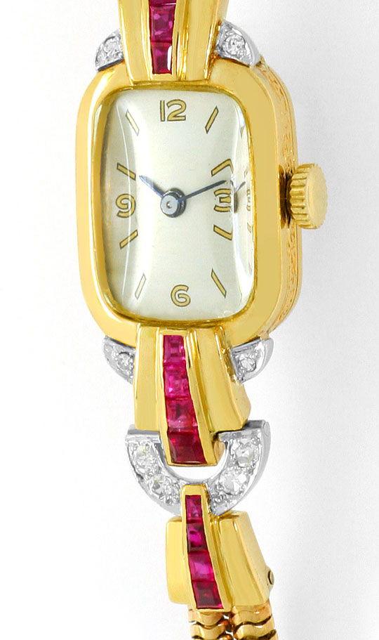 Foto 2, antike Art Deco Armbanduhr Diamanten Rubine Gold Platin, U1496
