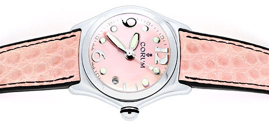 Foto 1 - Corum Bubble Medium Uhr Perlmutt Rosa, Stahl Ungetragen, U1498