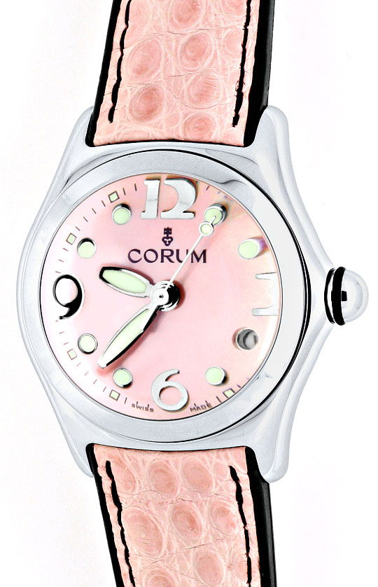 Foto 2, Corum Bubble Medium Uhr Perlmutt Rosa, Stahl Ungetragen, U1498