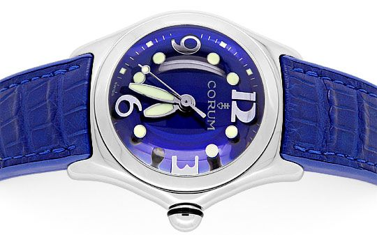 Foto 1, Corum Bubble Königsblau Medium Uhr Edelstahl Ungetragen, U1500