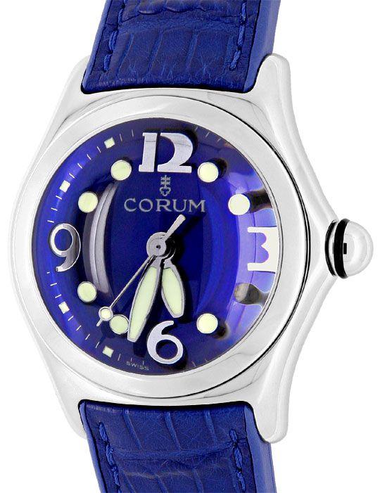 Foto 2, Corum Bubble Königsblau Medium Uhr Edelstahl Ungetragen, U1500