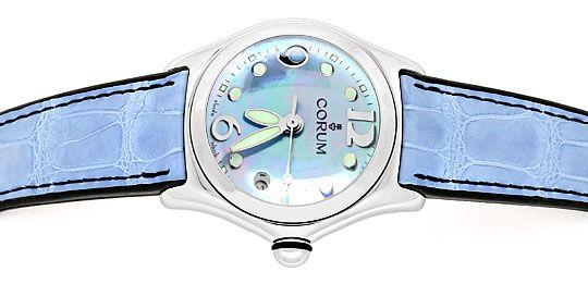 Foto 1, Corum Bubble Medium Perlmutt Hellblau, Stahl Ungetragen, U1501