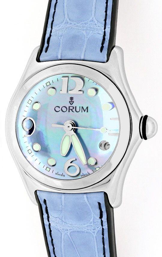 Foto 2, Corum Bubble Medium Perlmutt Hellblau, Stahl Ungetragen, U1501