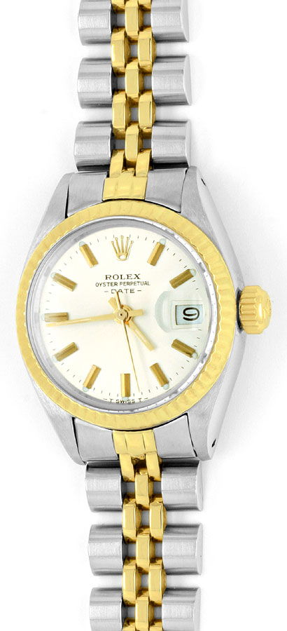 Foto 2, Rolex Date Damen Armbanduhr Stahlgold Automatik Jubilee, U1511